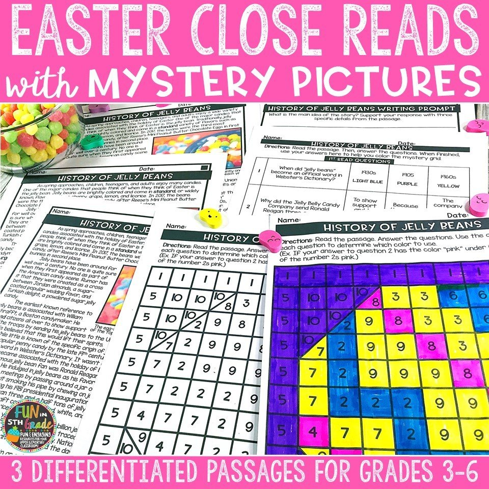 Easter Close Reading Comprehension Passages w/ Mystery Picture Activity 00001