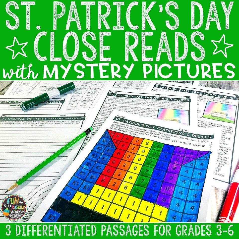 St. Patrick's Day Close Reading Comprehension w/ Mystery Picture Activity 00003
