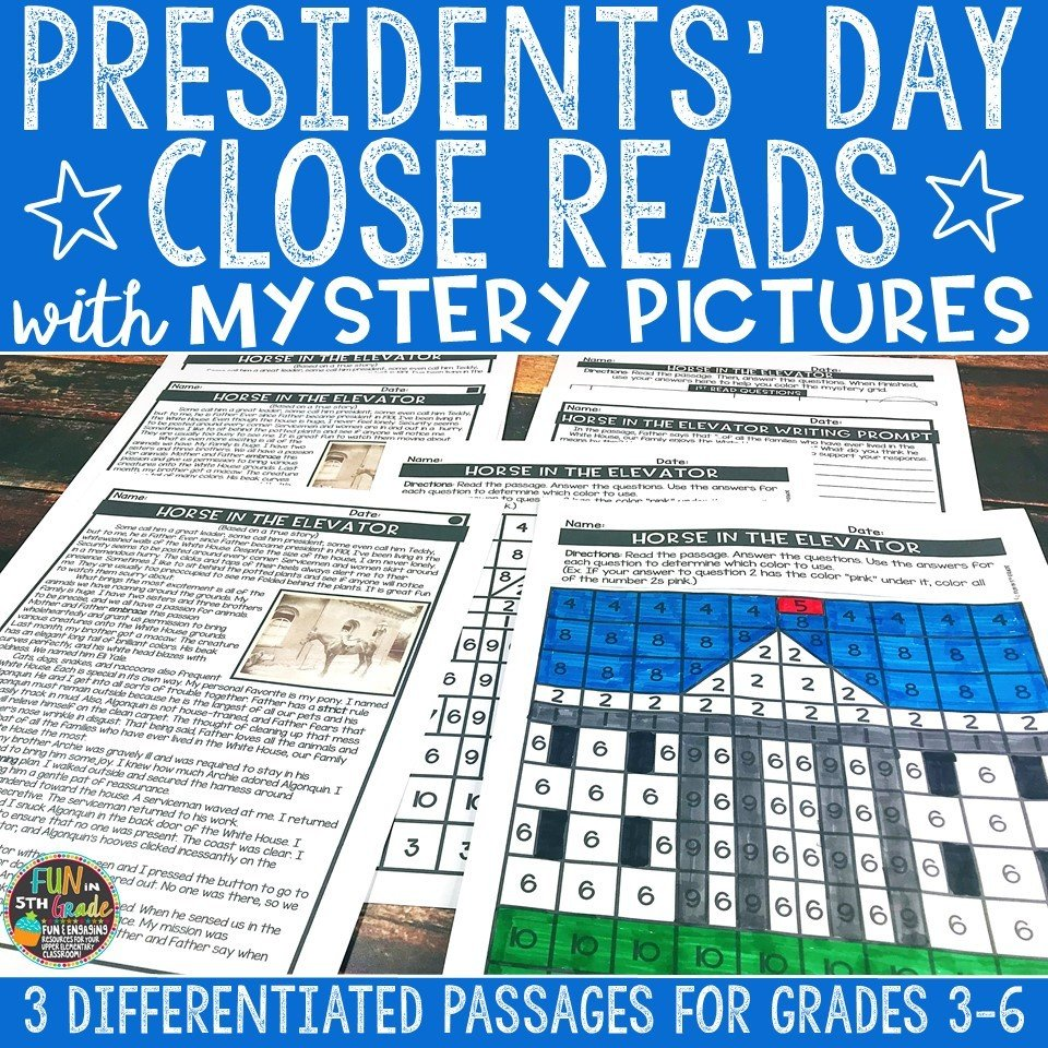 Presidents' Day Close Reading Comprehension w/ Mystery Picture Activity 00004