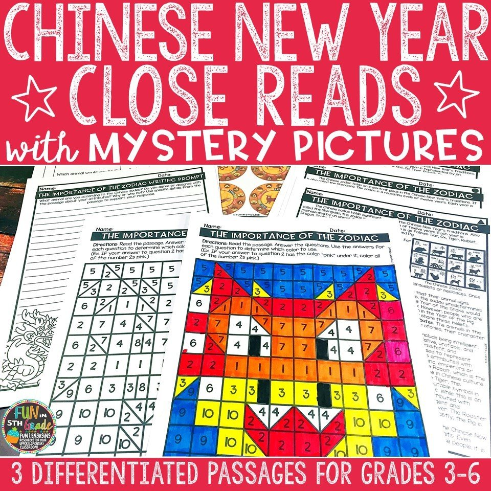 Chinese New Year Close Reading Comprehension w/ Mystery Picture Activity 00005