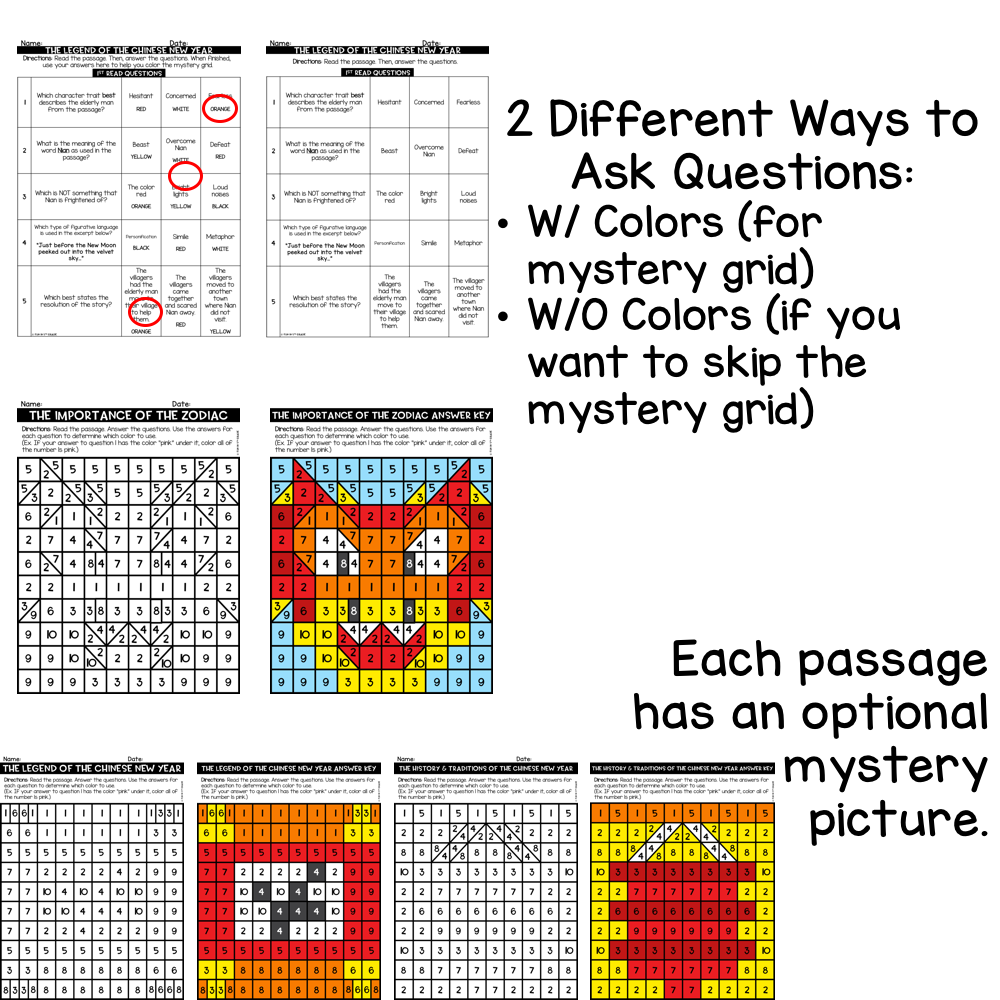 Chinese New Year Close Reading Comprehension w/ Mystery Picture Activity