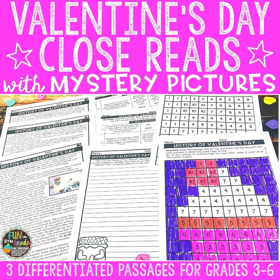 Valentine's Day Close Reading Comprehension w/ Mystery Picture Activity 00006