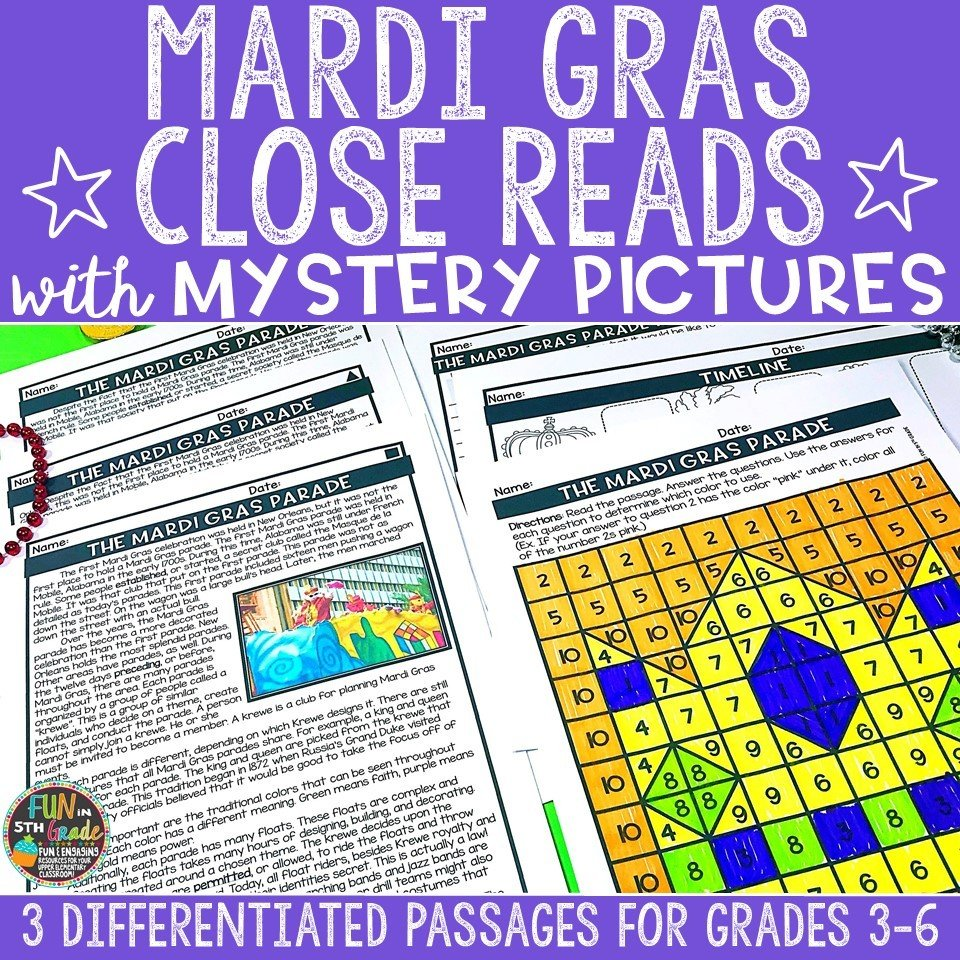 Mardi Gras Close Reading Comprehension w/ Mystery Picture Activity 00007