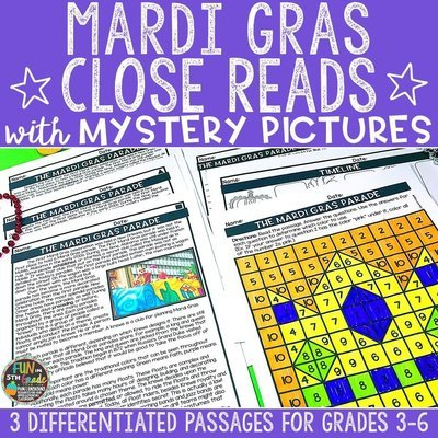 Mardi Gras Close Reading Comprehension w/ Mystery Picture Activity