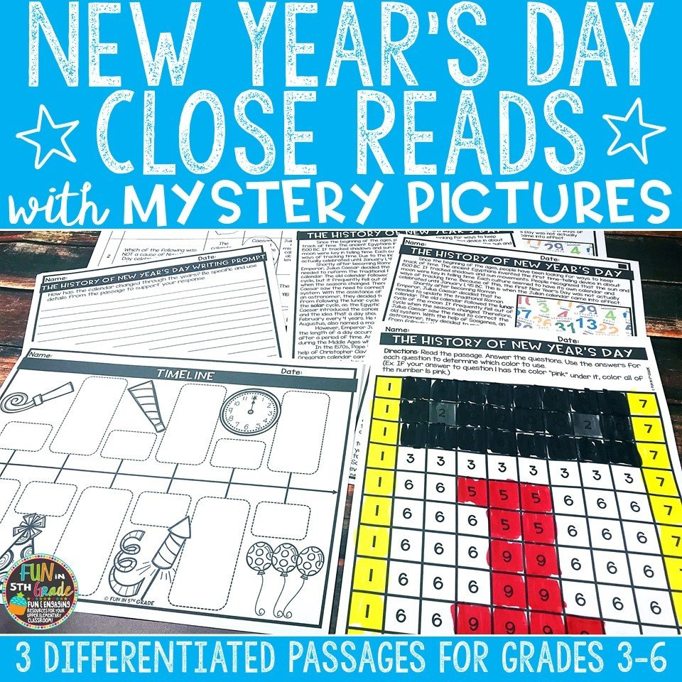New Year's Day Close Reading Comprehension w/ Mystery Picture Activity 00008