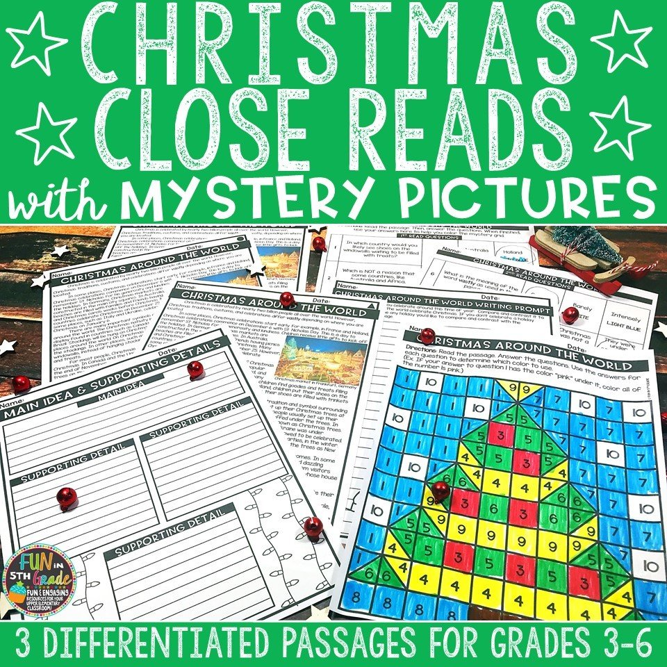 Christmas Close Reading Comprehension w/ Mystery Picture Activity 00009
