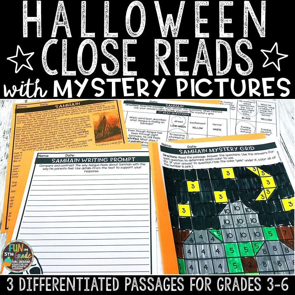 Halloween Close Reading Comprehension w/ Mystery Picture Activity 00011
