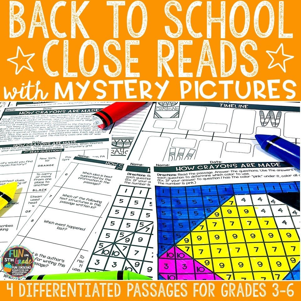 Back to School Close Reading Comprehension w/ Mystery Picture Activity 00012