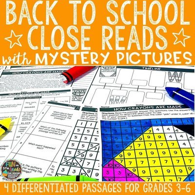 Back to School Close Reading Comprehension w/ Mystery Picture Activity