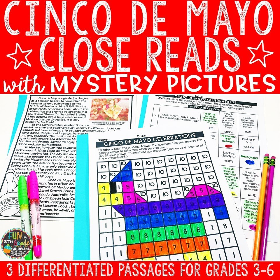 Cinco de Mayo Close Reading Comprehension w/ Mystery Picture Activity 00013