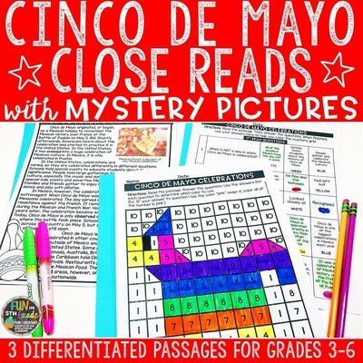 Cinco de Mayo Close Reading Comprehension w/ Mystery Picture Activity