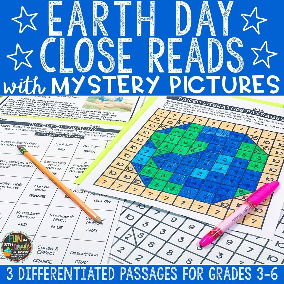 Earth Day Close Reading Comprehension w/ Mystery Picture Activity