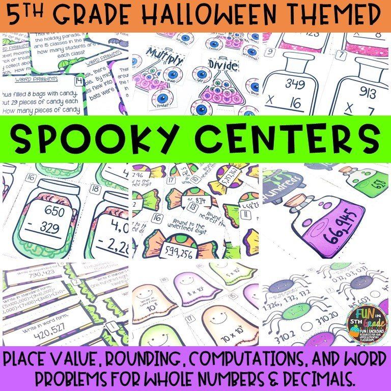 5th Grade Halloween Themed Math Review Centers
