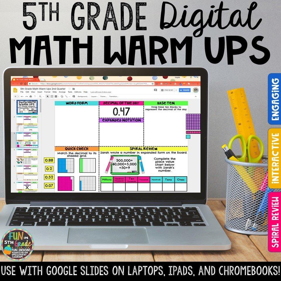 5th Grade Digital Math Warm Ups | Digital Morning Work 00021
