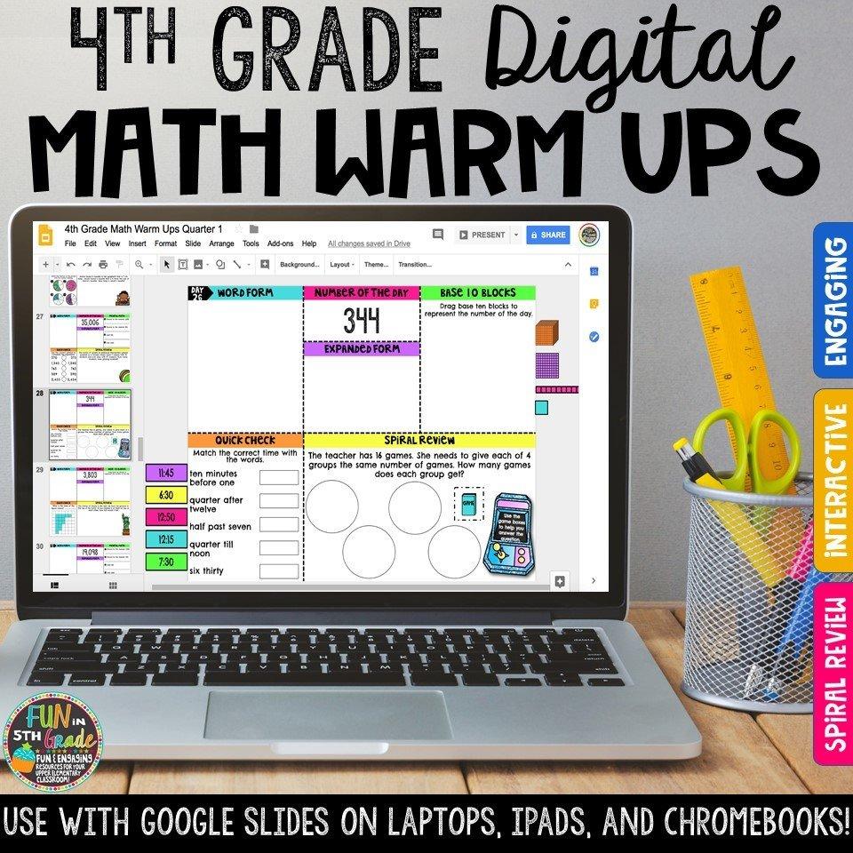 4th Grade Digital Math Warm Ups | Digital Morning Work 00022