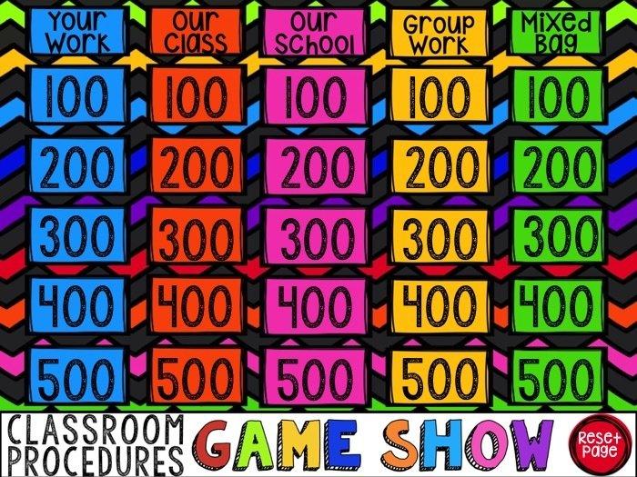 Classroom Procedures Game Show