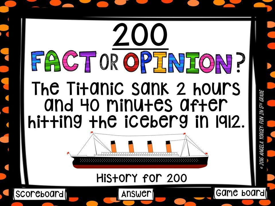 Fact and Opinion Game Show (PowerPoint Game)
