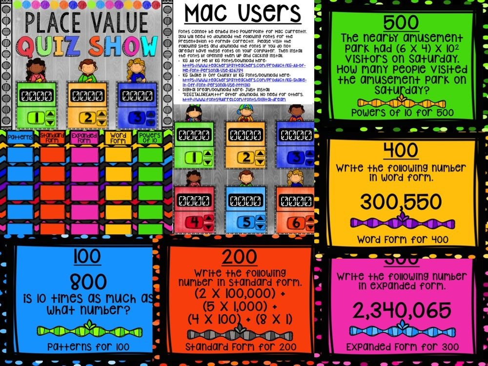 Place Value Game Show for 5th Grade (PowerPoint Game)