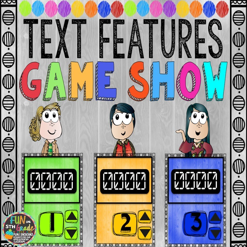 Text Features Game Show (PowerPoint Game) 00033