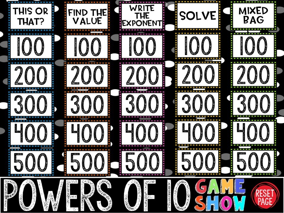Powers of 10 Game Show (PowerPoint Game)