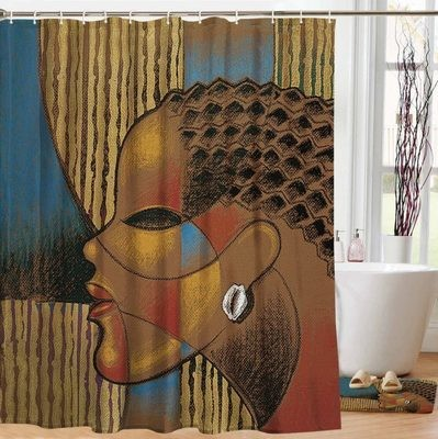 COMPOSITE OF A WOMAN DESIGNER SHOWER CURTAIN