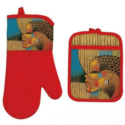 COMPOSITE WOMAN OVEN MITT AND POTHOLDER SET