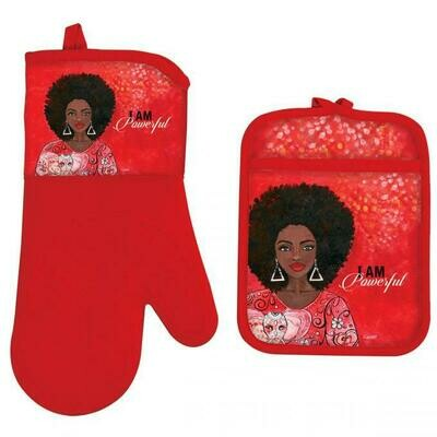 I AM POWERFUL OVEN MITT POTHOLDER SET