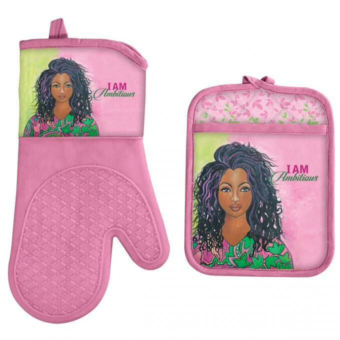 I AM AMBITIOUS OVEN MITT AND POTHOLDER SET