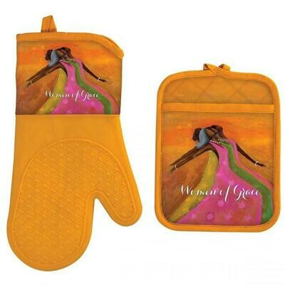 WOMEN OF GRACE OVEN MITT AND POTHOLDER SET
