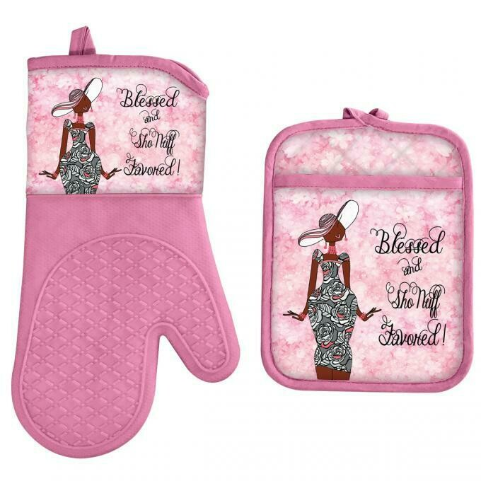 BLESSED AND SHO NUFF FAVORED OVEN MITT AND POTHOLDER SETS
