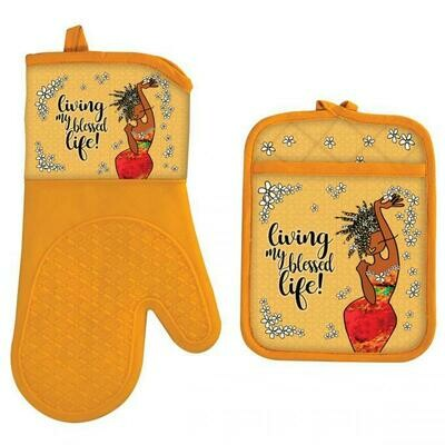 LIVING MY BLESSED LIFE OVEN MITT POTHOLDER SET