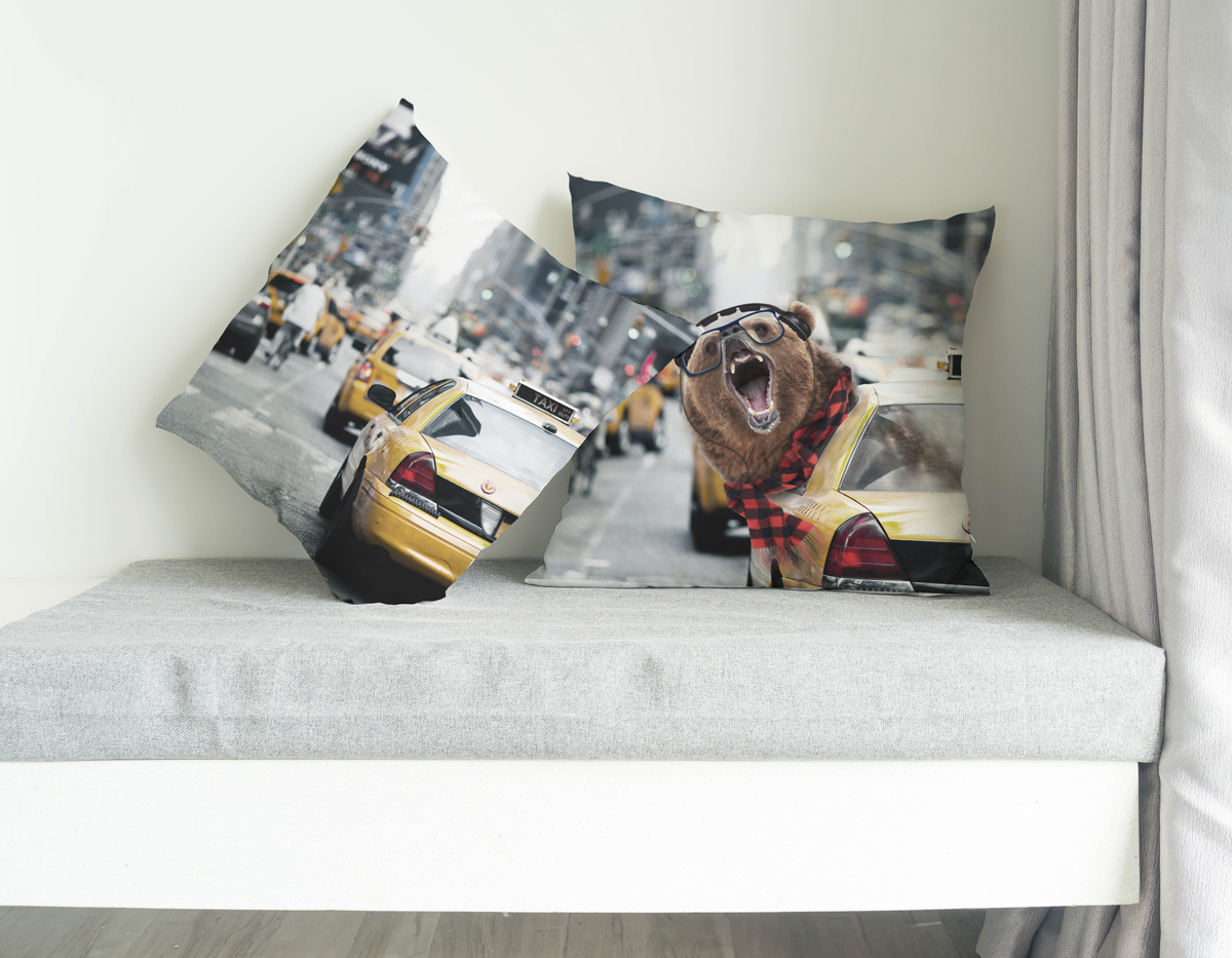Trendy Bear in NYC, SBBTO Pillow Case 00070