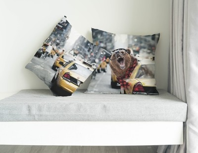 Trendy Bear in NYC, SBBTO Pillow Case