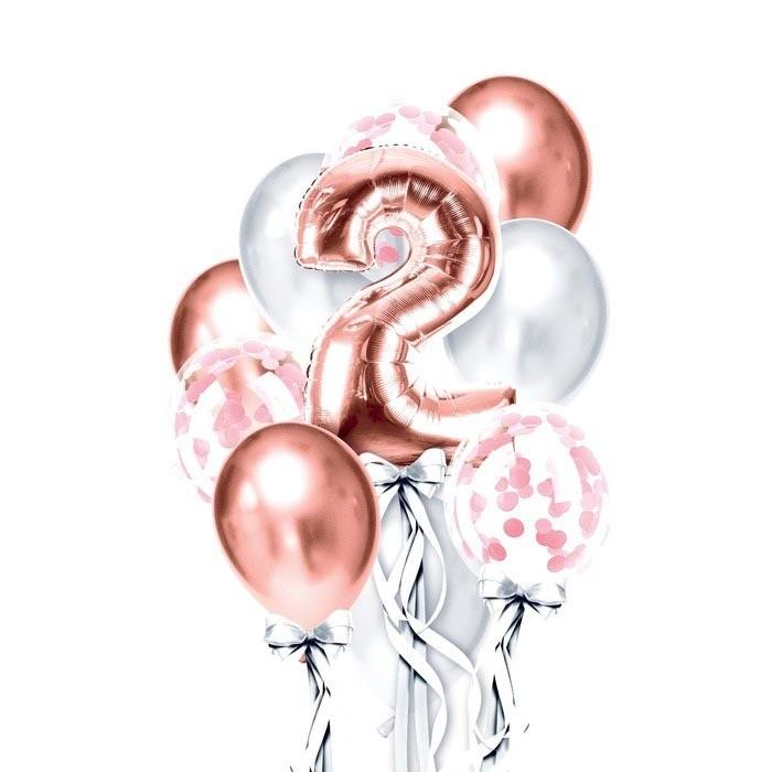 """Набор из 10 воздушных шаров """"День рождения девочки 2 года"""""""