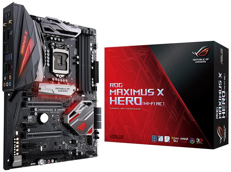 ASUS ROG Maximus X Hero LGA1151 (Intel 8th Gen) DDR4 DP HDMI M.2 Z370 ATX Gaming Motherboard with onboard 802.11ac WiFi, Gigabit LAN and USB 3.1 TGISCTC24375
