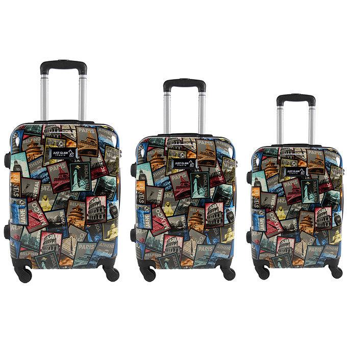 Set 3 valigie in abs leggero c/4 ruote fantasia francobolli