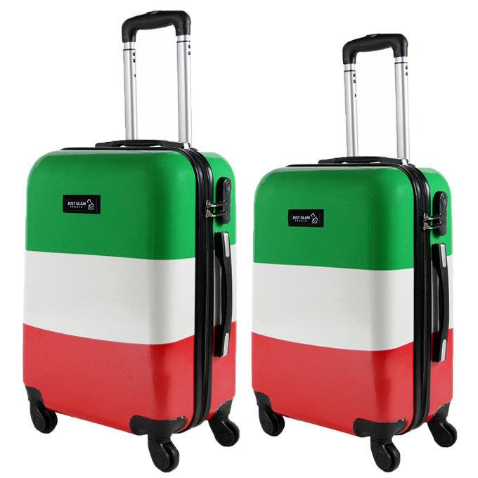 Coppia di 2 trolley da cabina mis.50 e 55 cm fantasia bandiera italiana