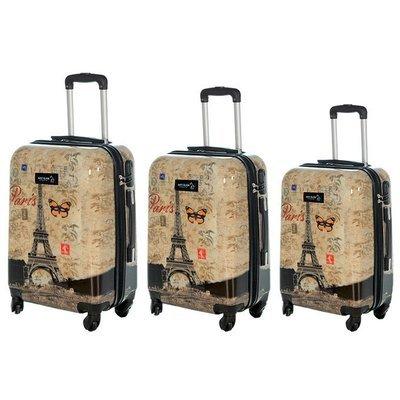 Set 3 valigie in abs leggero c/4 ruote fantasia torre eiffel con farfalla