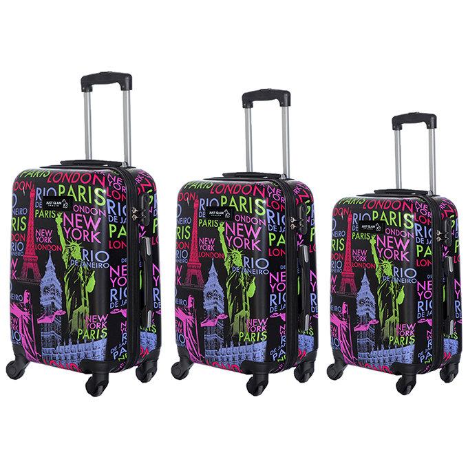 Set 3 valigie in abs leggero c/4 ruote fantasia nomi capitali nero