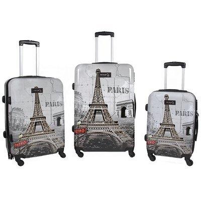 Set 3 valigie in abs leggero c/4 ruote  fantasia torre eiffel