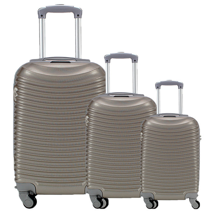 Set 3 valigie in abs leggero c/4 ruote champagne