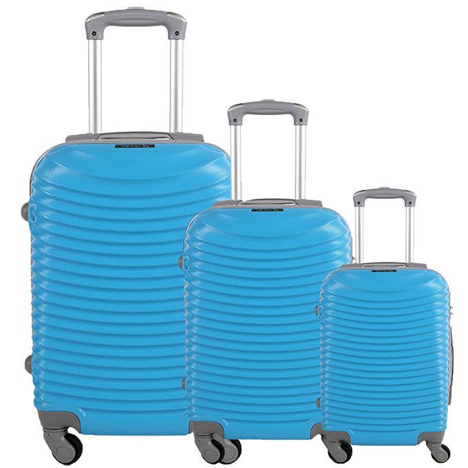 Set 3 valigie in abs leggero c/4 ruote turchese