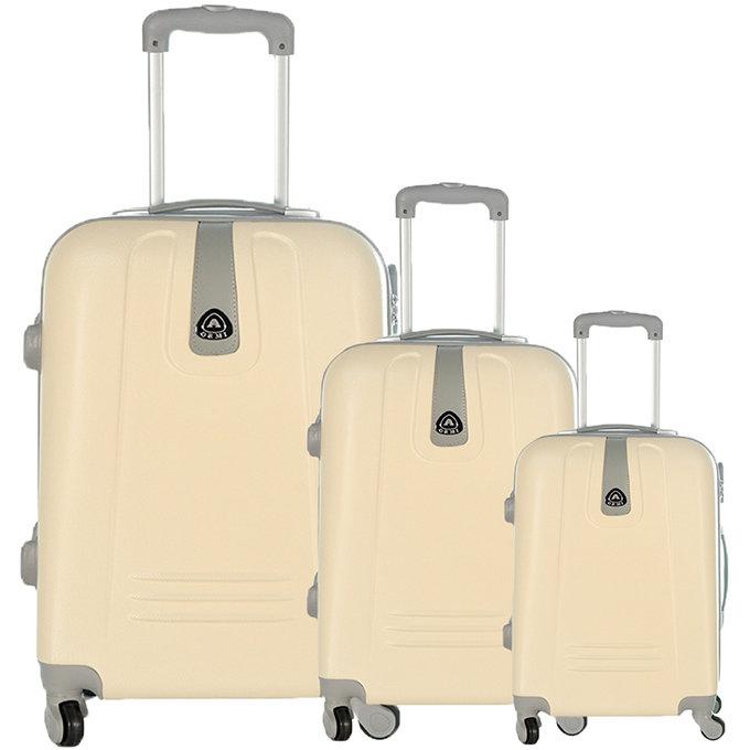 Set 3 valigie in abs leggero c/4 ruote panna