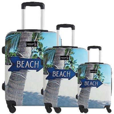 Set 3 valigie in abs leggero c/4 ruote fantasia beach