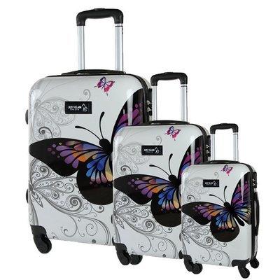 Set 3 valigie in abs leggero c/4 ruote fantasia farfalla
