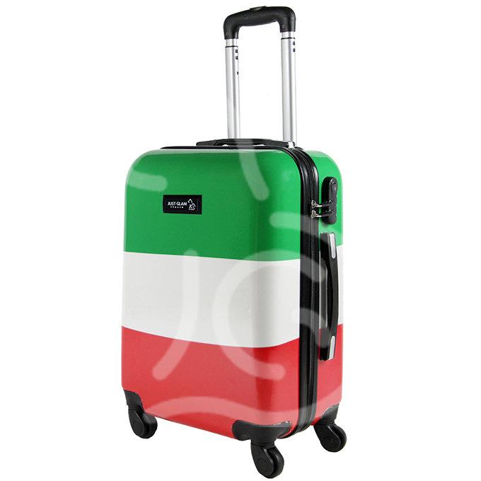 Trolley da cabina  justglam  ultraleggero  55cm fantasia bandiera italiana