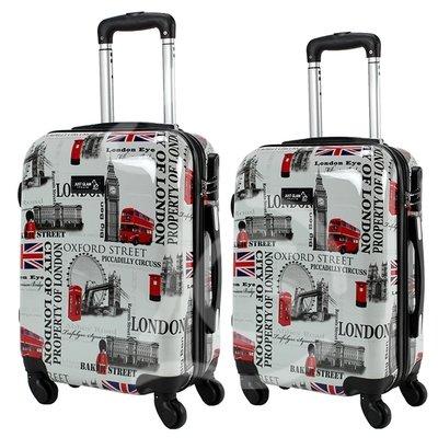 Coppia di 2 trolley da cabina mis.50 e 55 cm fantasia london