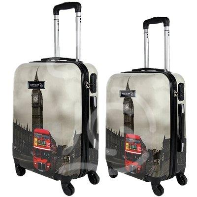 Coppia di 2 trolley da cabina mis.50 e 55 cm fantasia london bus