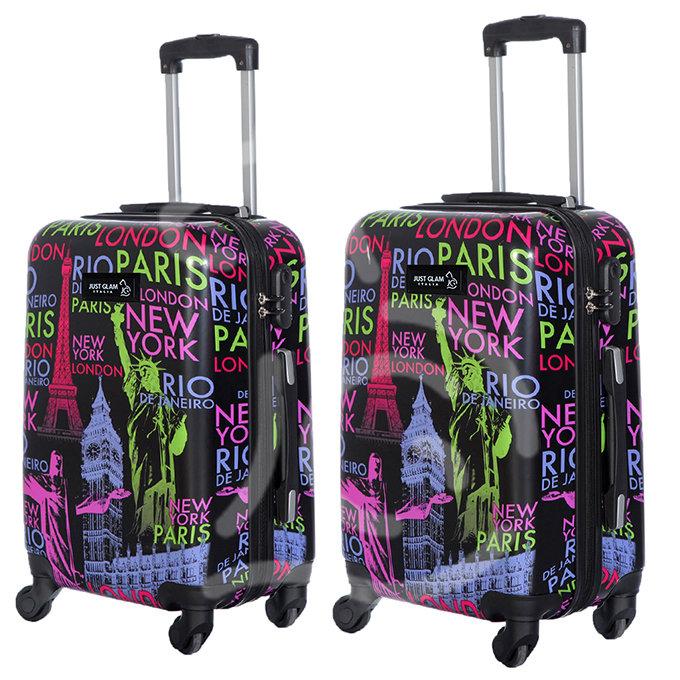 Coppia di 2 trolley da cabina mis.50 e 55 cm fantasia nomi capitali