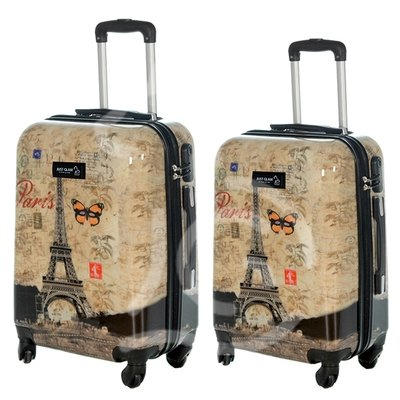 Coppia di 2 trolley da cabina mis.50 e 55 cm fantasia torre eiffel con farfalla